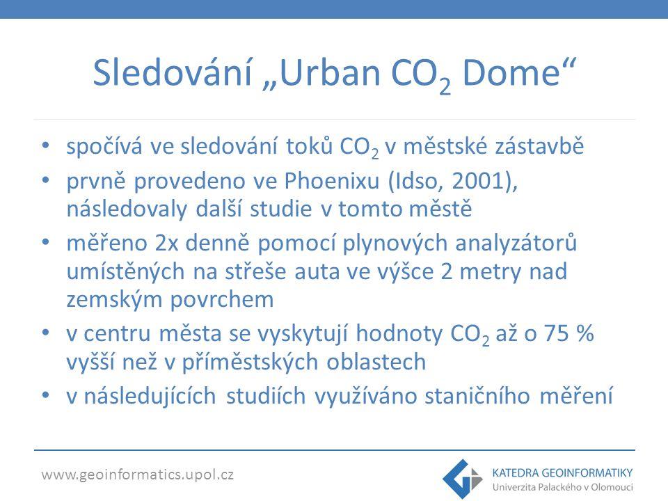 """www.geoinformatics.upol.cz Sledování """"Urban CO 2 Dome spočívá ve sledování toků CO 2 v městské zástavbě prvně provedeno ve Phoenixu (Idso, 2001), následovaly další studie v tomto městě měřeno 2x denně pomocí plynových analyzátorů umístěných na střeše auta ve výšce 2 metry nad zemským povrchem v centru města se vyskytují hodnoty CO 2 až o 75 % vyšší než v příměstských oblastech v následujících studiích využíváno staničního měření"""