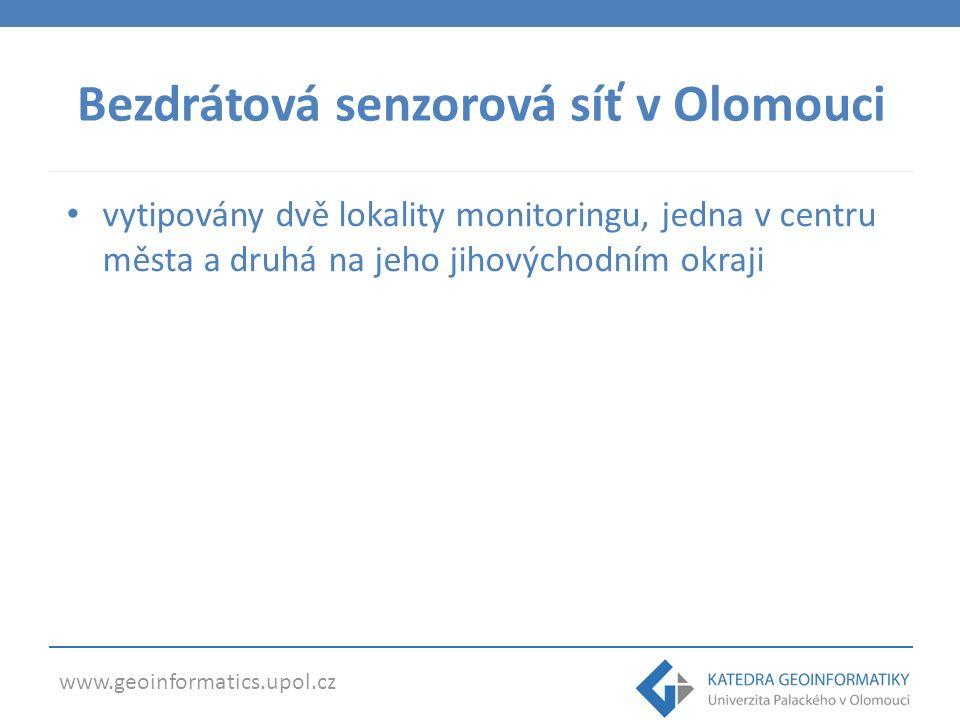 www.geoinformatics.upol.cz Bezdrátová senzorová síť v Olomouci vytipovány dvě lokality monitoringu, jedna v centru města a druhá na jeho jihovýchodním okraji