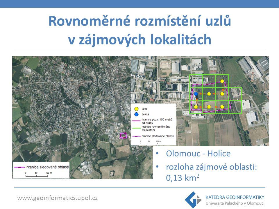 www.geoinformatics.upol.cz Rovnoměrné rozmístění uzlů v zájmových lokalitách Olomouc - Holice rozloha zájmové oblasti: 0,13 km 2