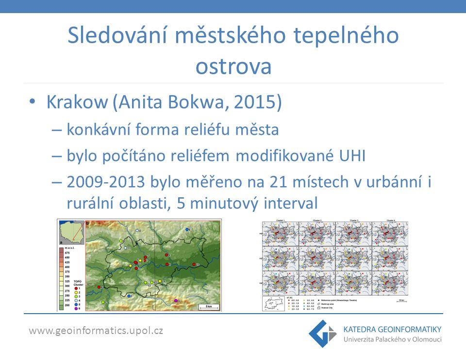 www.geoinformatics.upol.cz Sledování městského tepelného ostrova Krakow (Anita Bokwa, 2015) – konkávní forma reliéfu města – bylo počítáno reliéfem modifikované UHI – 2009-2013 bylo měřeno na 21 místech v urbánní i rurální oblasti, 5 minutový interval