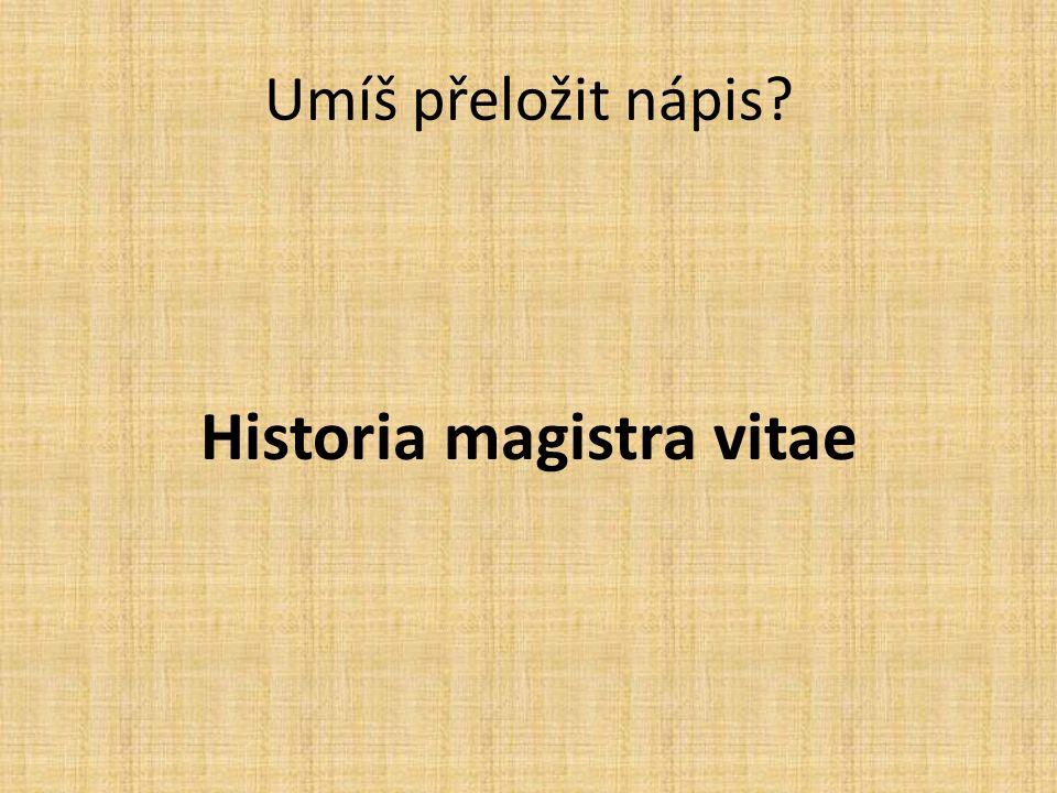 Umíš přeložit nápis Historia magistra vitae