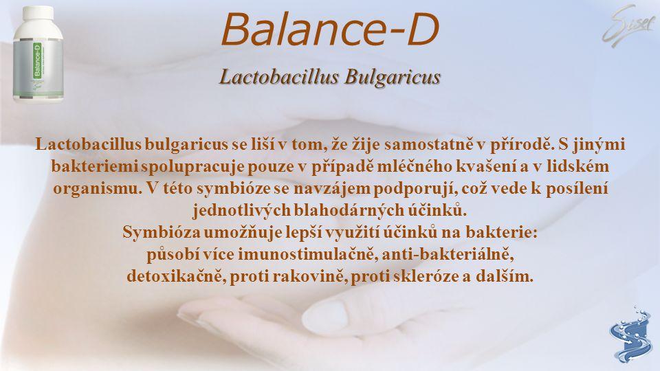 Balance-D Lactobacillus acidophilus Bakterie kyseliny mléčné Lactobacillus acidophilus je přirozeným obyvatelem našeho zažívacího traktu. Tako bakteri