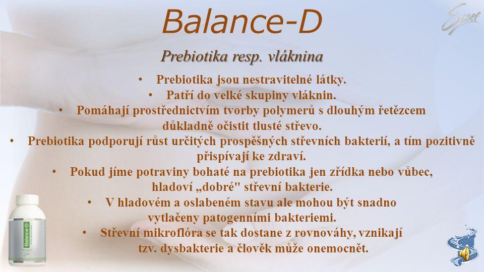 Balance-D Účinné látky Prebiotika resp. vláknina z jablečné vlákniny, kořene čekanky a maltodextrinu Probiotika z Lactobacillus rhamnosus Lactobacillu