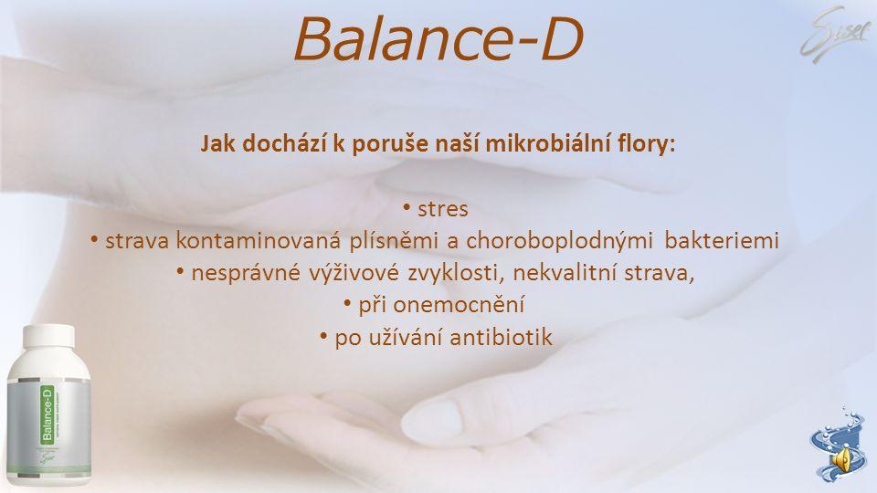 Balance-D Jak dochází k poruše naší mikrobiální flory: stres strava kontaminovaná plísněmi a choroboplodnými bakteriemi nesprávné výživové zvyklosti, nekvalitní strava, při onemocnění po užívání antibiotik