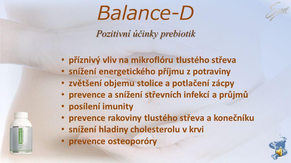 Balance-D Pozitivní účinky prebiotik příznivý vliv na mikroflóru tlustého střeva snížení energetického příjmu z potraviny zvětšení objemu stolice a potlačení zácpy prevence a snížení střevních infekcí a průjmů posílení imunity prevence rakoviny tlustého střeva a konečníku snížení hladiny cholesterolu v krvi prevence osteoporóry