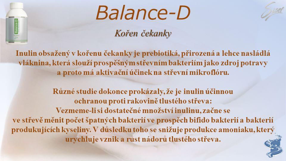 Balance-D Kořen čekanky Inulin obsažený v kořenu čekanky je prebiotiká, přirozená a lehce nasládlá vláknina, která slouží prospěšným střevním bakteriím jako zdroj potravy a proto má aktivační účinek na střevní mikroflóru.