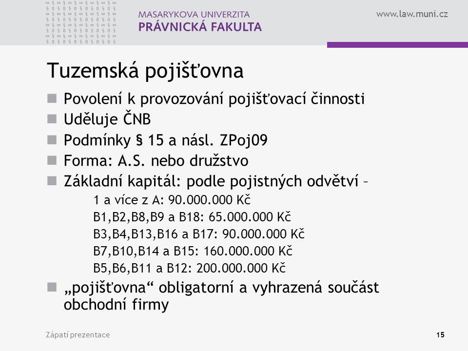 www.law.muni.cz Zápatí prezentace15 Tuzemská pojišťovna Povolení k provozování pojišťovací činnosti Uděluje ČNB Podmínky § 15 a násl. ZPoj09 Forma: A.