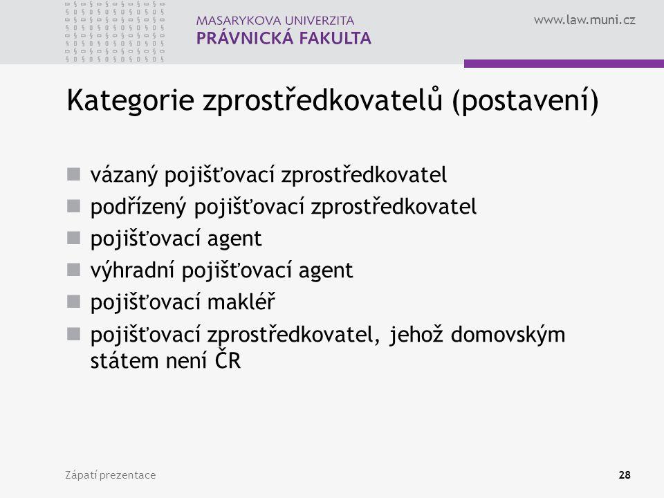 www.law.muni.cz Zápatí prezentace28 Kategorie zprostředkovatelů (postavení) vázaný pojišťovací zprostředkovatel podřízený pojišťovací zprostředkovatel