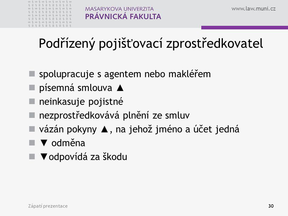 www.law.muni.cz Zápatí prezentace30 Podřízený pojišťovací zprostředkovatel spolupracuje s agentem nebo makléřem písemná smlouva ▲ neinkasuje pojistné