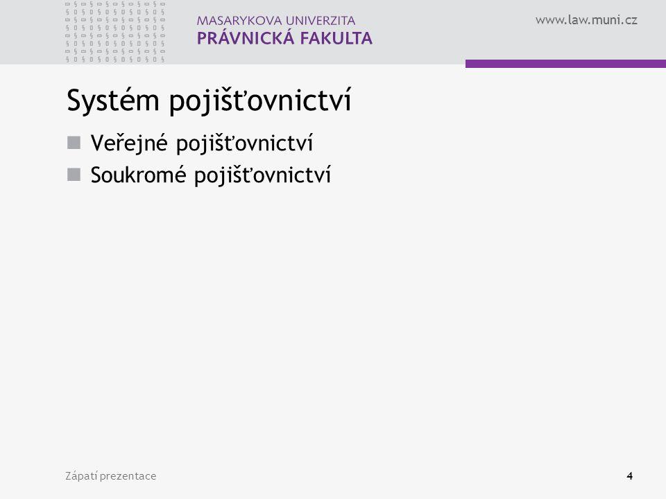 www.law.muni.cz Zápatí prezentace5 Veřejné pojišťovnictví Systém veřejných pojistných fondů Zákonná pojištění --------------------------------------------- Sociální pojištění (stát) Důchodové pojištění (stát) Nemocenské pojištění (stát) Zdravotní pojištění (zdravotní pojišťovny) Zákonné pojištění odpovědnosti zaměstnavatele za pracovní úrazy a nemoci z povolání (Kooperativa, a.s.)