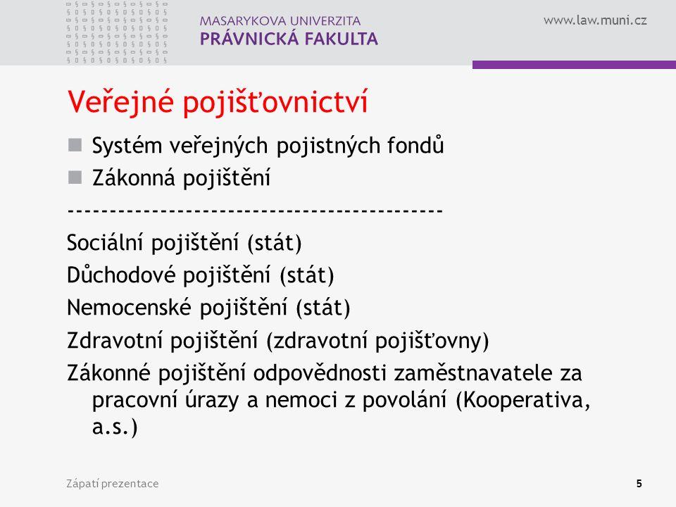 www.law.muni.cz Zápatí prezentace6 Soukromé pojišťovnictví Pojištění na principech trhu Existence obligatorního pojištění Soukromé pojistné fondy Veřejnoprávní dohled Soukromoprávní produkty