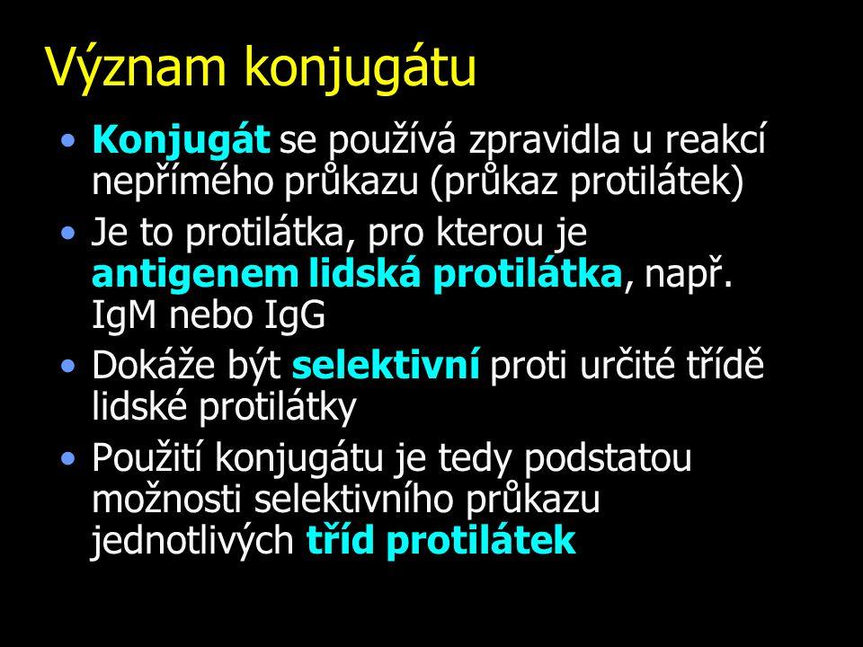 Význam konjugátu Konjugát se používá zpravidla u reakcí nepřímého průkazu (průkaz protilátek) Je to protilátka, pro kterou je antigenem lidská protilá