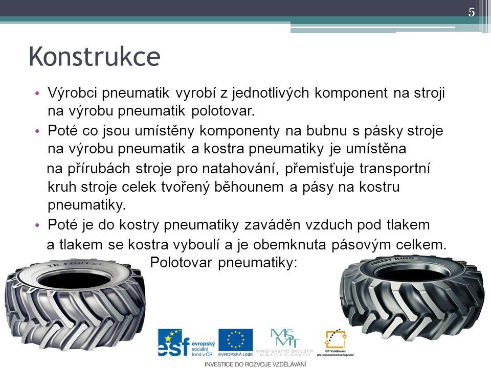 Konstrukce 5 Výrobci pneumatik vyrobí z jednotlivých komponent na stroji na výrobu pneumatik polotovar. Poté co jsou umístěny komponenty na bubnu s pá