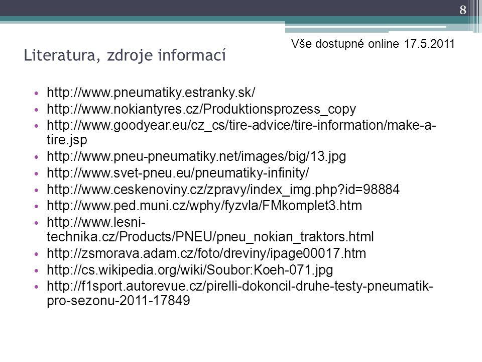 Literatura, zdroje informací http://www.pneumatiky.estranky.sk/ http://www.nokiantyres.cz/Produktionsprozess_copy http://www.goodyear.eu/cz_cs/tire-ad