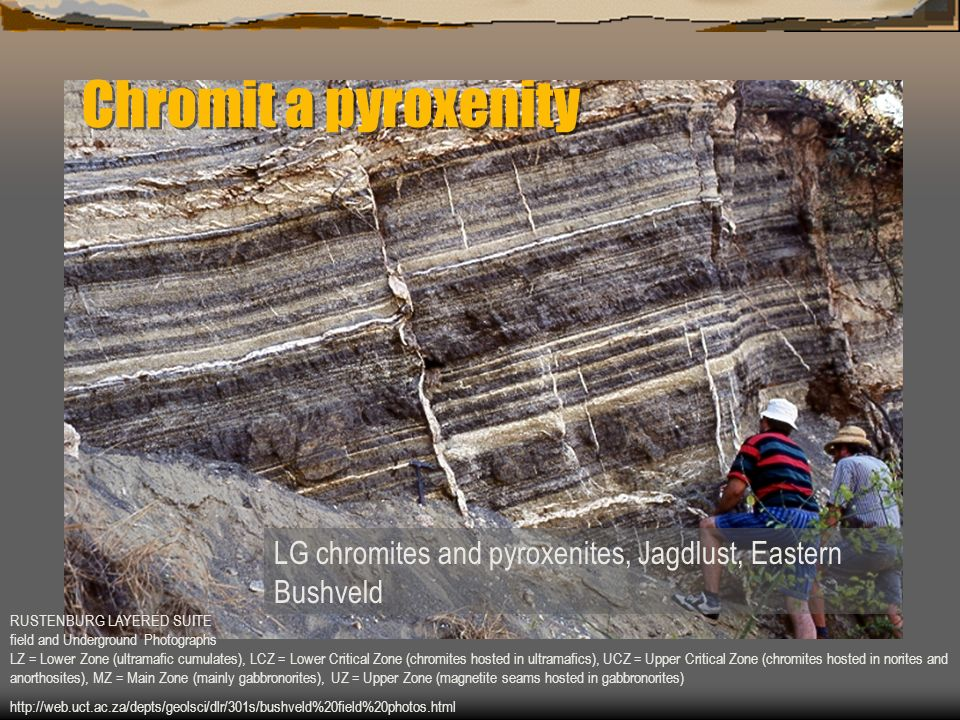 LG chromites and pyroxenites, Jagdlust, Eastern Bushveld RUSTENBURG LAYERED SUITE field and Underground Photographs LZ = Lower Zone (ultramafic cumula