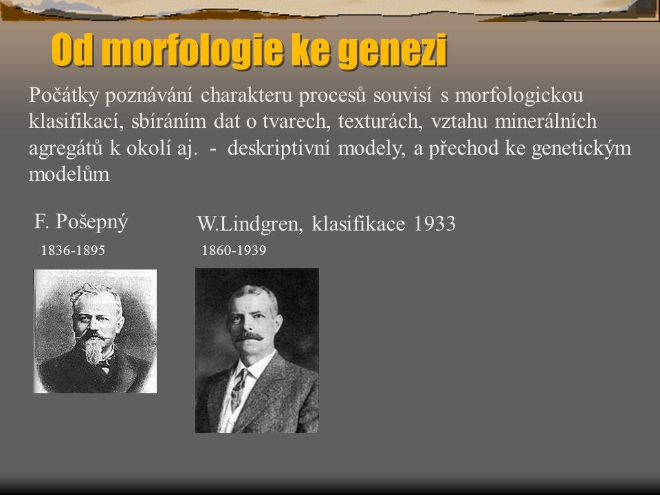 Od morfologie ke genezi Počátky poznávání charakteru procesů souvisí s morfologickou klasifikací, sbíráním dat o tvarech, texturách, vztahu minerálních agregátů k okolí aj.