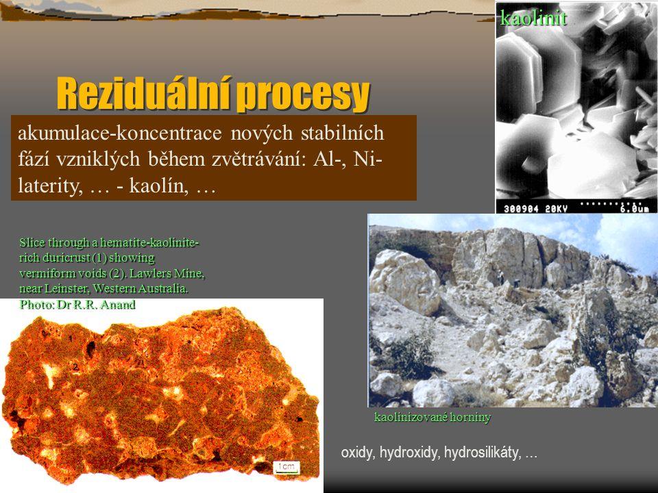 Reziduální procesy akumulace-koncentrace nových stabilních fází vzniklých během zvětrávání: Al-, Ni- laterity, … - kaolín, … Slice through a hematite-kaolinite- rich duricrust (1) showing vermiform voids (2).