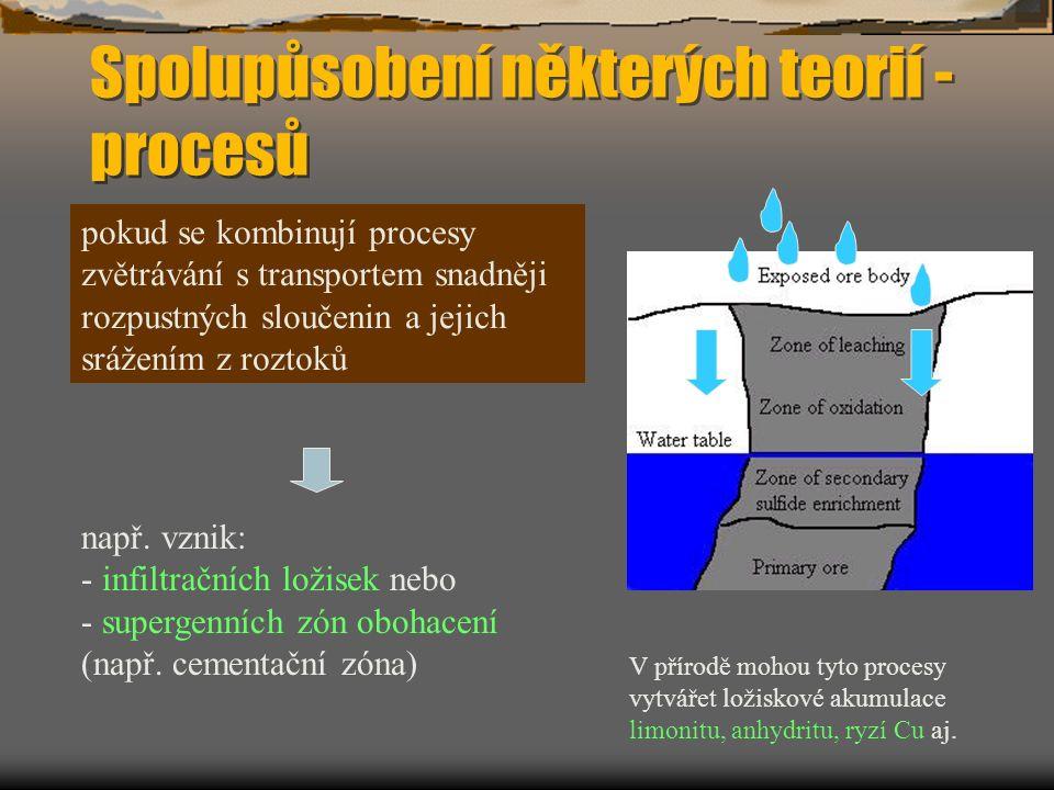 Spolupůsobení některých teorií - procesů pokud se kombinují procesy zvětrávání s transportem snadněji rozpustných sloučenin a jejich srážením z roztoků např.