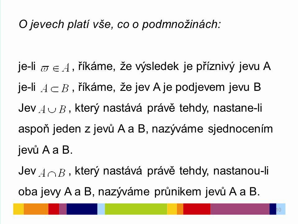 10 O jevech platí vše, co o podmnožinách: je-li, říkáme, že výsledek je příznivý jevu A je-li, říkáme, že jev A je podjevem jevu B Jev, který nastává právě tehdy, nastane-li aspoň jeden z jevů A a B, nazýváme sjednocením jevů A a B.