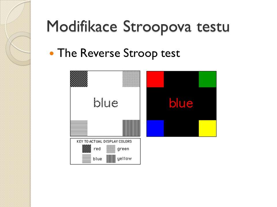 Modifikace Stroopova testu The Reverse Stroop test