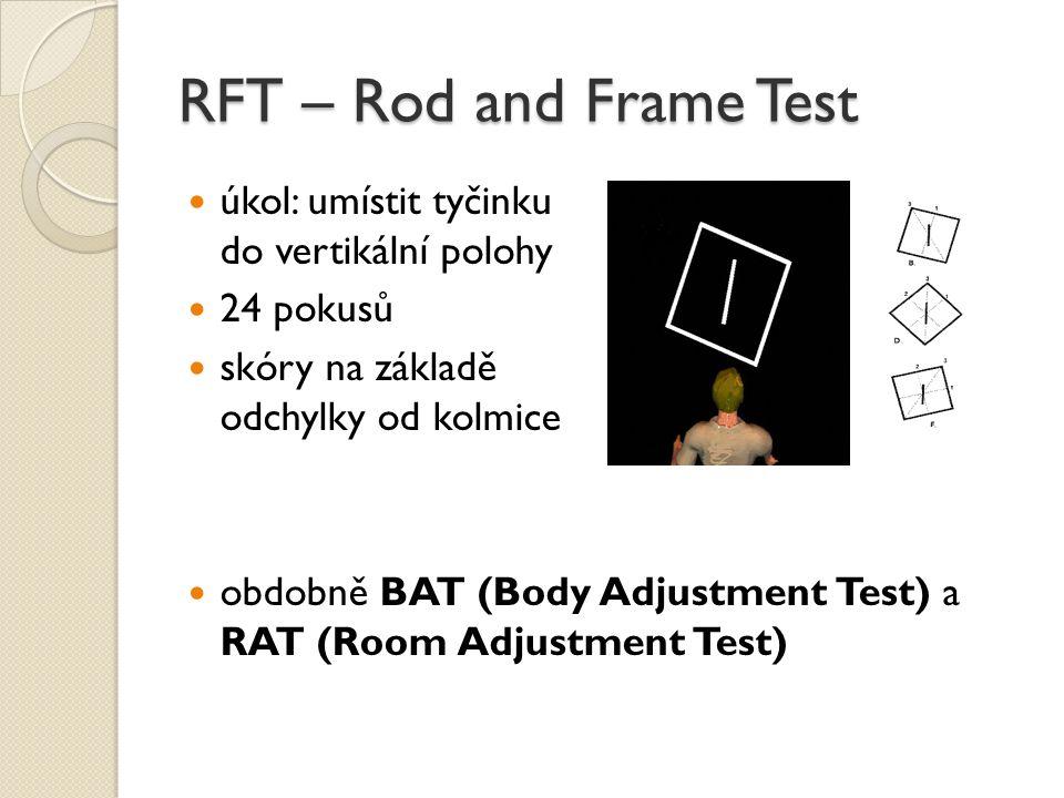 RFT – Rod and Frame Test úkol: umístit tyčinku do vertikální polohy 24 pokusů skóry na základě odchylky od kolmice obdobně BAT (Body Adjustment Test)