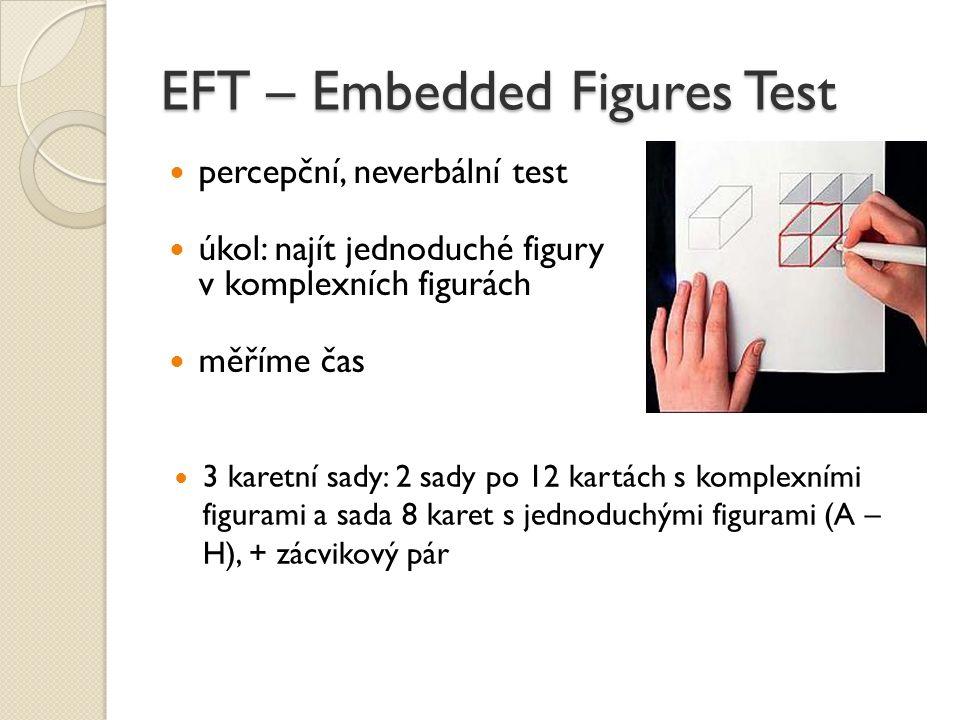 EFT – Embedded Figures Test percepční, neverbální test úkol: najít jednoduché figury v komplexních figurách měříme čas 3 karetní sady: 2 sady po 12 ka