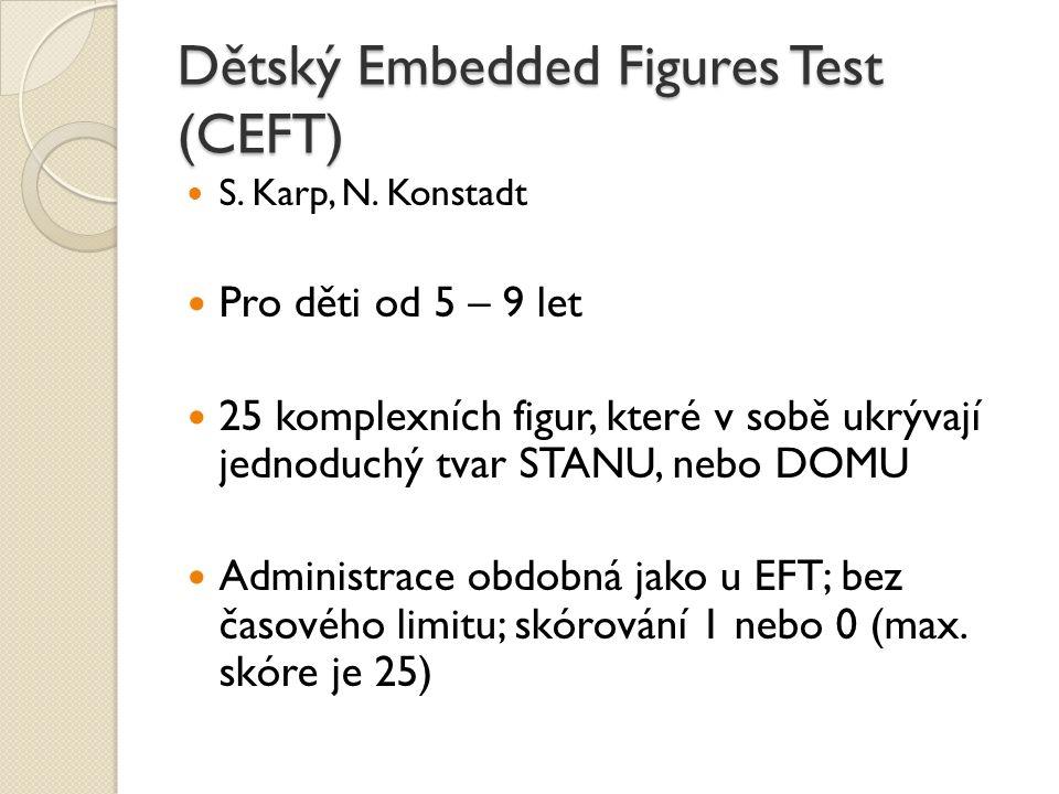 Dětský Embedded Figures Test (CEFT) S. Karp, N. Konstadt Pro děti od 5 – 9 let 25 komplexních figur, které v sobě ukrývají jednoduchý tvar STANU, nebo