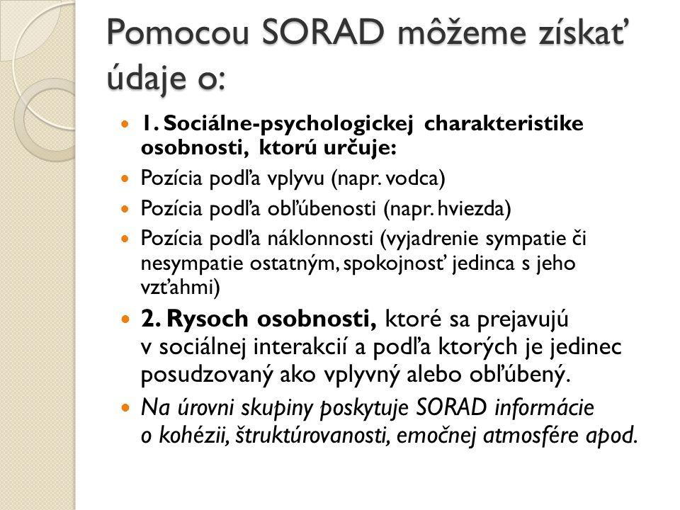 Pomocou SORAD môžeme získať údaje o: 1. Sociálne-psychologickej charakteristike osobnosti, ktorú určuje: Pozícia podľa vplyvu (napr. vodca) Pozícia po