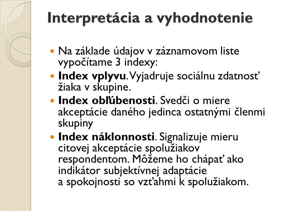Interpretácia a vyhodnotenie Na základe údajov v záznamovom liste vypočítame 3 indexy: Index vplyvu. Vyjadruje sociálnu zdatnosť žiaka v skupine. Inde