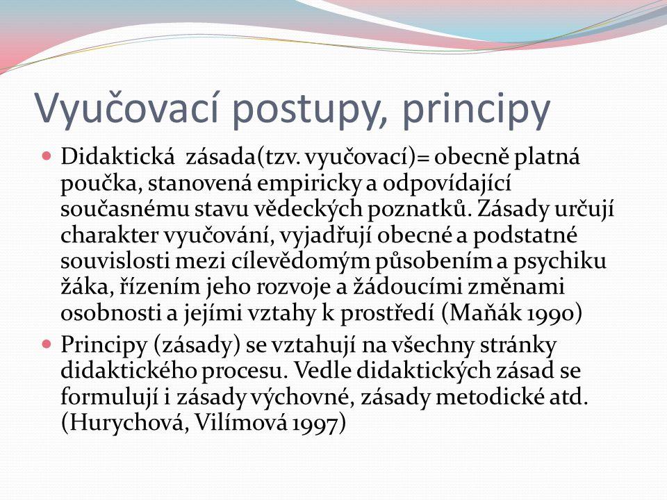 Vyučovací postupy, principy Didaktická zásada(tzv. vyučovací)= obecně platná poučka, stanovená empiricky a odpovídající současnému stavu vědeckých poz