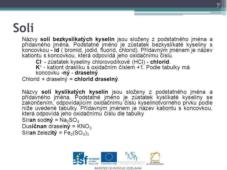 Soli Názvy solí bezkyslíkatých kyselin jsou složeny z podstatného jména a přídavného jména. Podstatné jméno je zůstatek bezkyslíkaté kyseliny s koncov