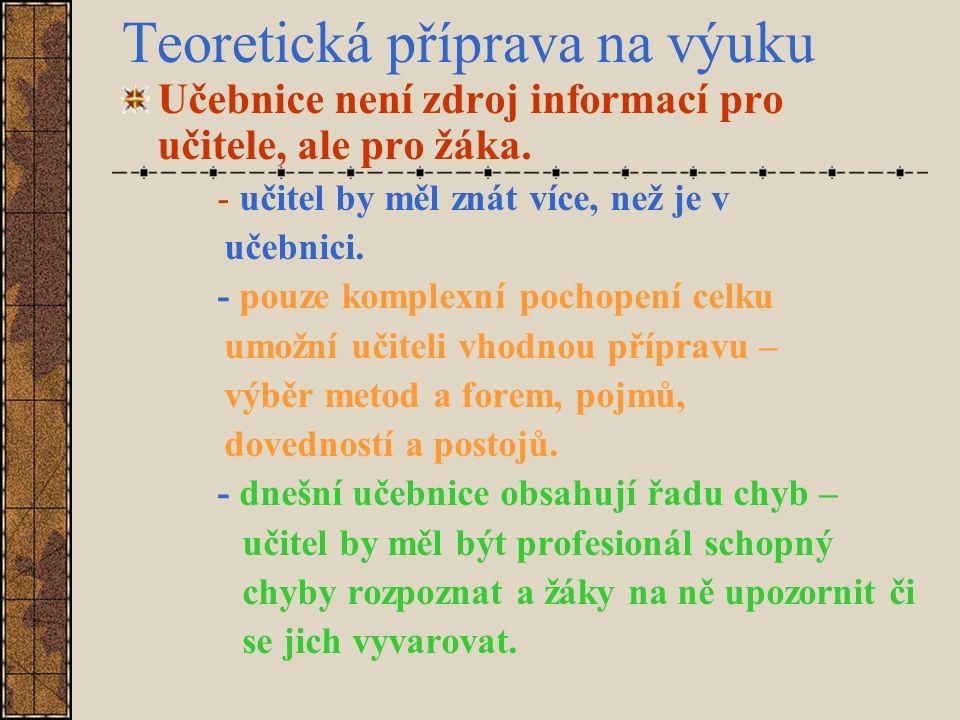 Teoretická příprava na výuku Učebnice není zdroj informací pro učitele, ale pro žáka.