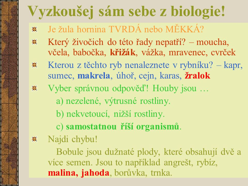 Vyzkoušej sám sebe z biologie! Je žula hornina TVRDÁ nebo MĚKKÁ? Který živočich do této řady nepatří? – moucha, včela, babočka, křižák, vážka, mravene