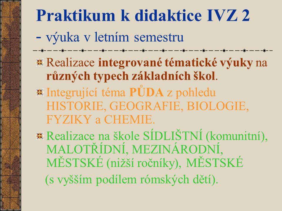 Praktikum k didaktice IVZ 2 - výuka v letním semestru Realizace integrované tématické výuky na různých typech základních škol. Integrující téma PŮDA z