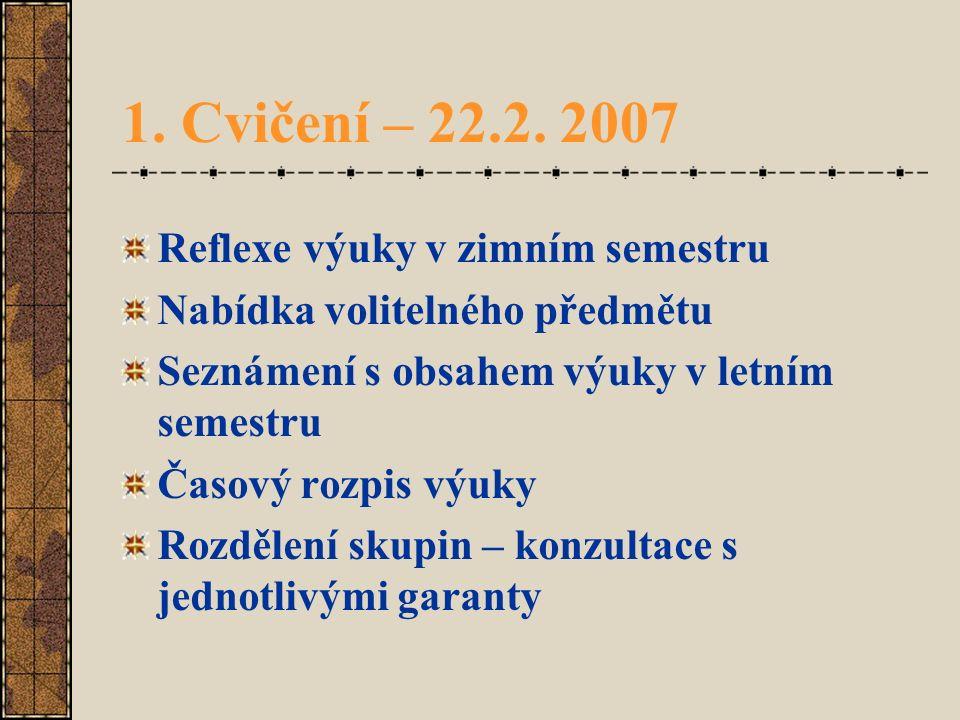 1. Cvičení – 22.2. 2007 Reflexe výuky v zimním semestru Nabídka volitelného předmětu Seznámení s obsahem výuky v letním semestru Časový rozpis výuky R