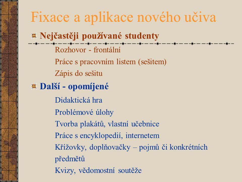Fixace a aplikace nového učiva Nejčastěji používané studenty Rozhovor - frontální Práce s pracovním listem (sešitem) Zápis do sešitu Další - opomíjené