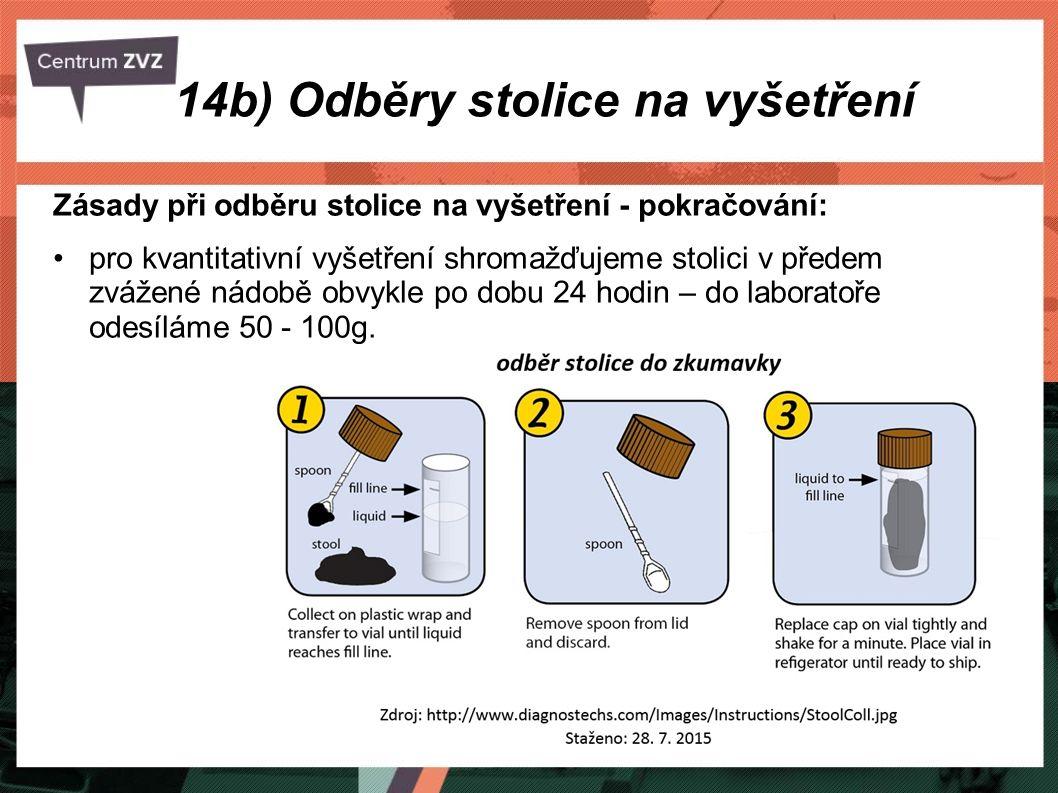 14b) Odběry stolice na vyšetření Nejčastější chyby při odběru stolice: chybný postup při odběru, nedodržení předepsané diety (zkreslení výsledků), odběr vzorku z povrchu stolice, nesprávné uložení odebraného materiálu, pozdní dodání vzorku do laboratoře, nepřesné označení vzorku nebo chybné vyplnění průvodky.
