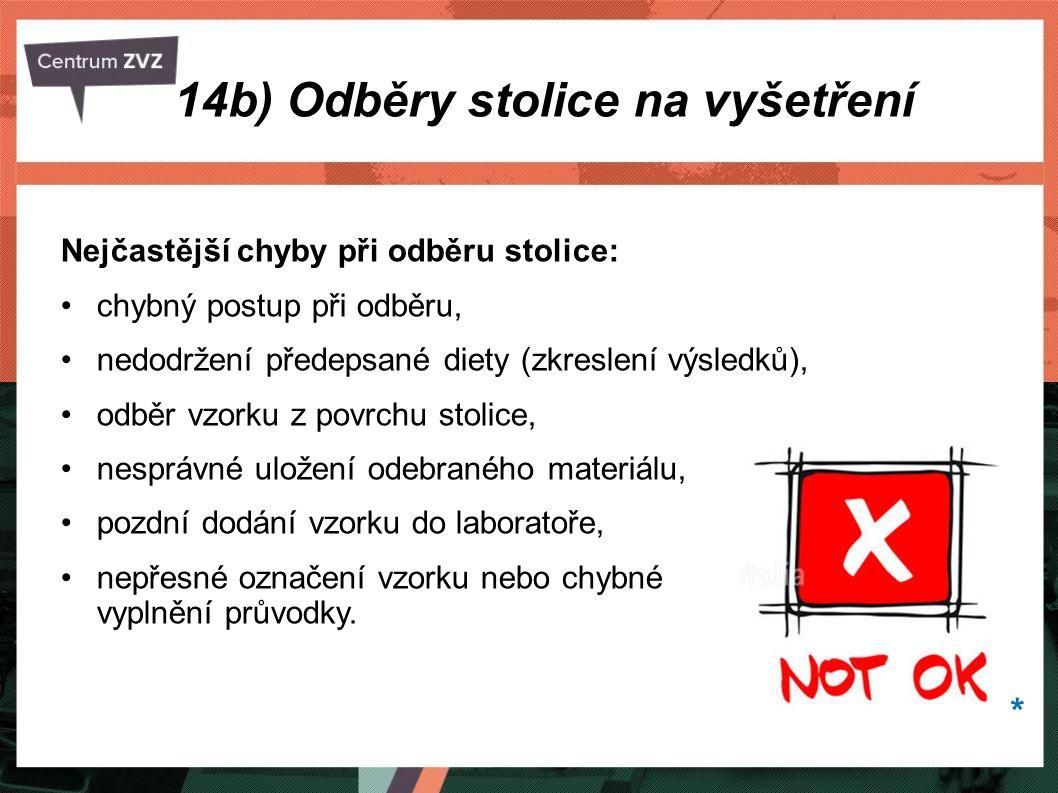 14b) Odběry stolice na vyšetření Nejčastější chyby při odběru stolice: chybný postup při odběru, nedodržení předepsané diety (zkreslení výsledků), odb