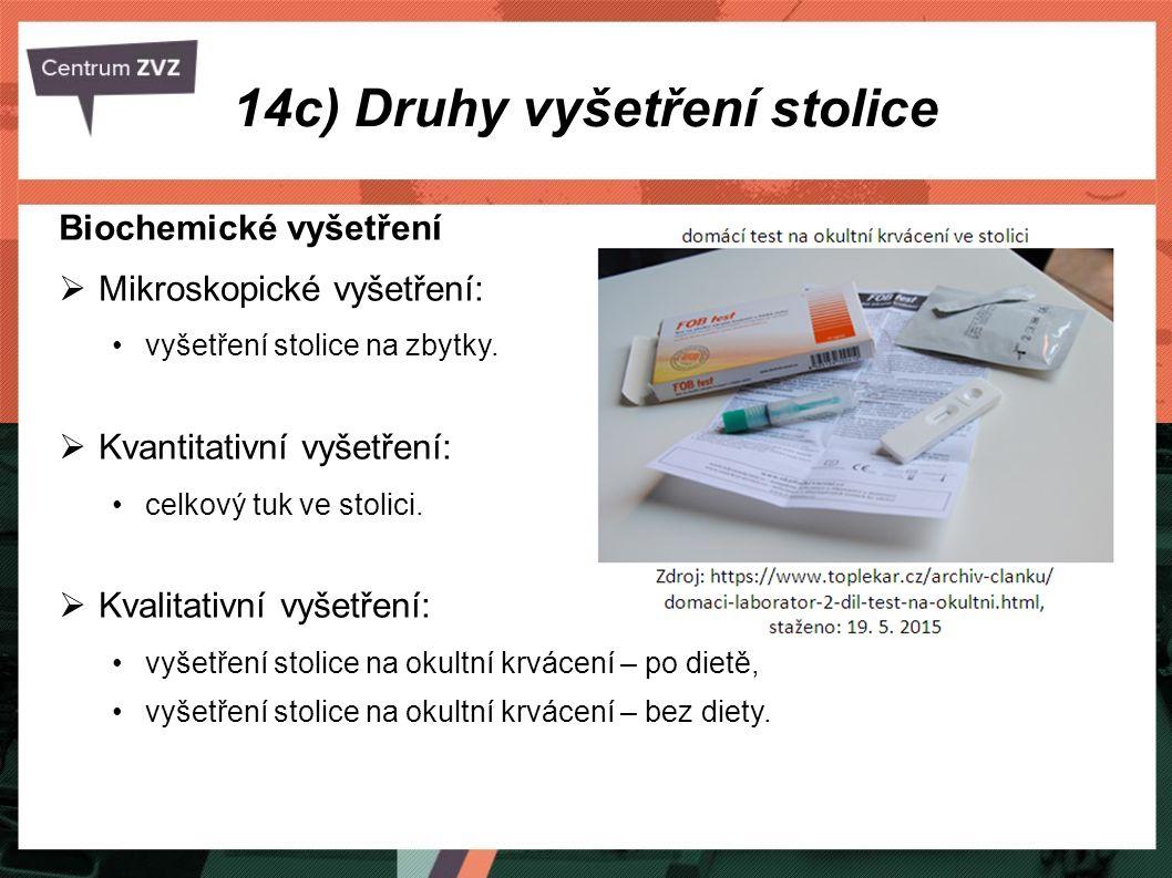 14c) Druhy vyšetření stolice Biochemické vyšetření  Mikroskopické vyšetření: vyšetření stolice na zbytky.  Kvantitativní vyšetření: celkový tuk ve s