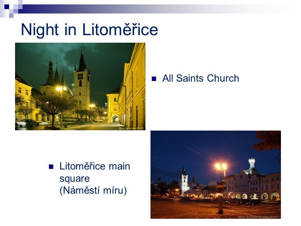 Night in Litoměřice All Saints Church Litoměřice main square (Náměstí míru)