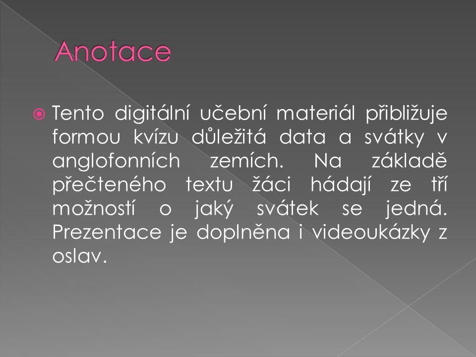  Tento digitální učební materiál přibližuje formou kvízu důležitá data a svátky v anglofonních zemích. Na základě přečteného textu žáci hádají ze tří