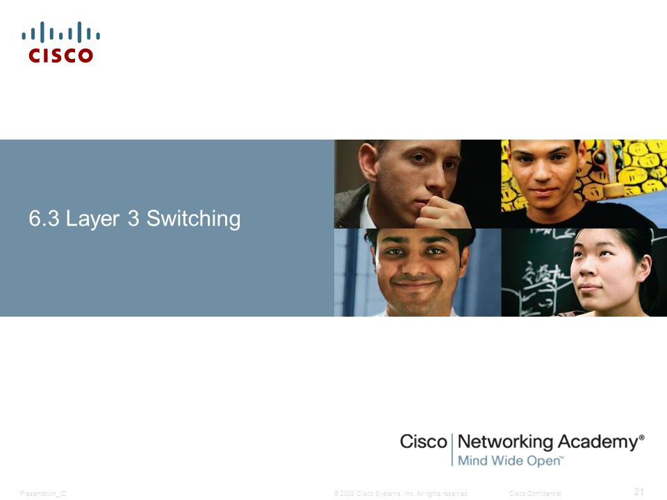 © 2008 Cisco Systems, Inc. All rights reserved.Cisco ConfidentialPresentation_ID 21 6.3 Layer 3 Switching