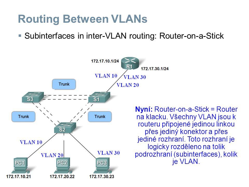 Configuring Inter-VLAN Routing  Configuring traditional inter-VLAN routing Dříve: Pro každou VLAN bylo nutno použít a konfigurovat samostatné rozhraní = fyzický konektor na routeru.