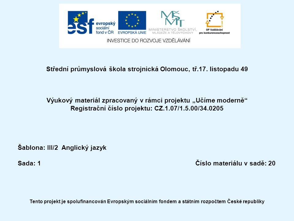 Střední průmyslová škola strojnická Olomouc, tř.17.