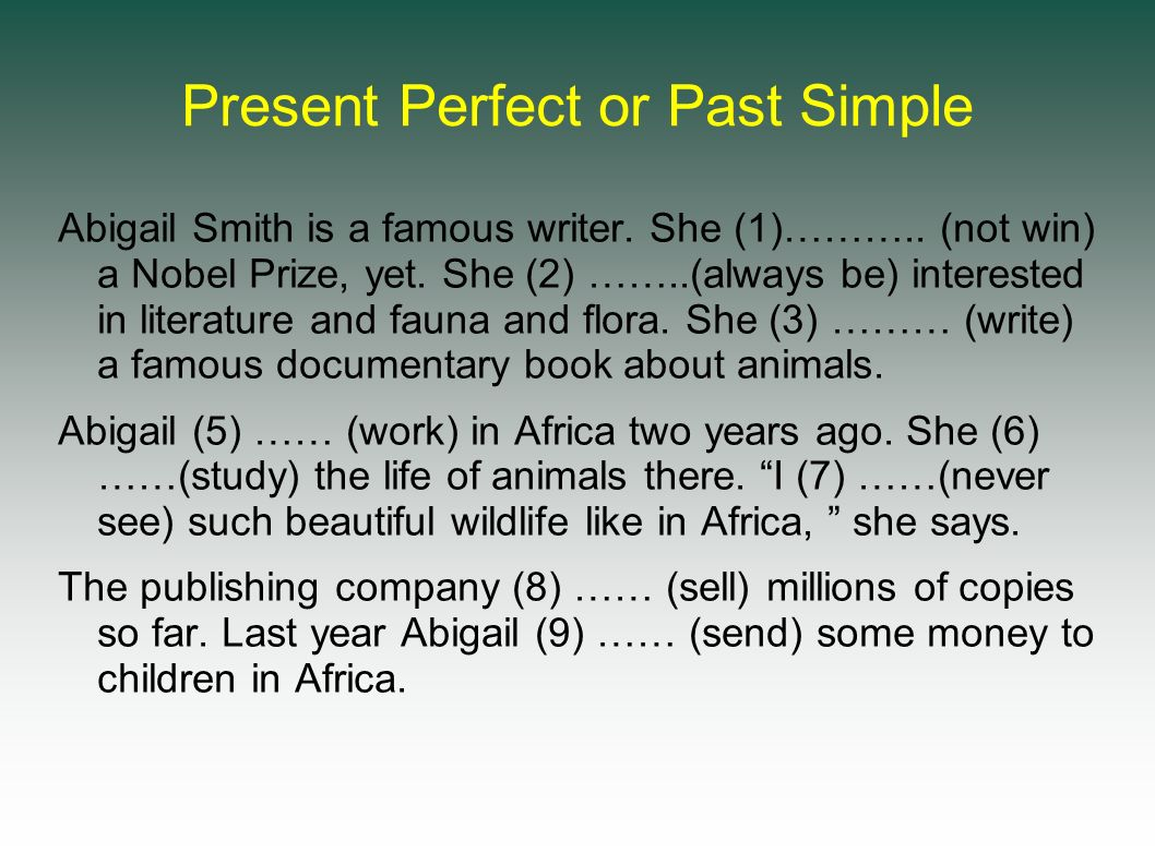 Present Perfect or Past Simple Abigail Smith is a famous writer.