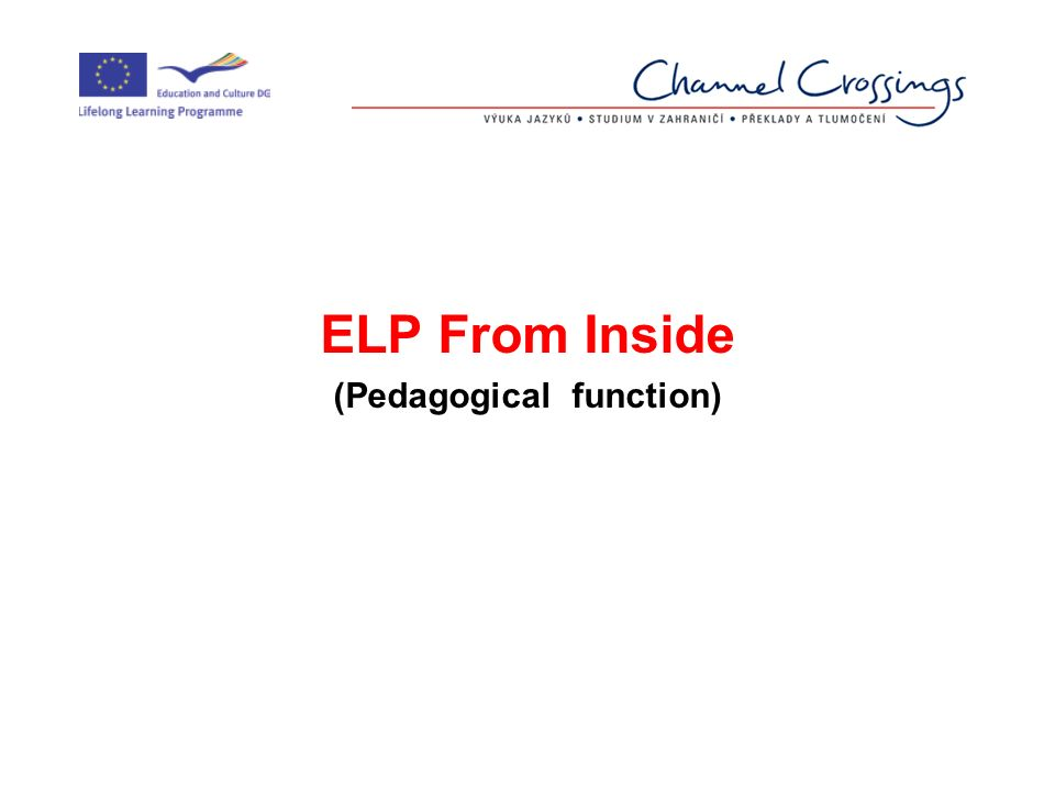 ELP From Inside (Pedagogical function)
