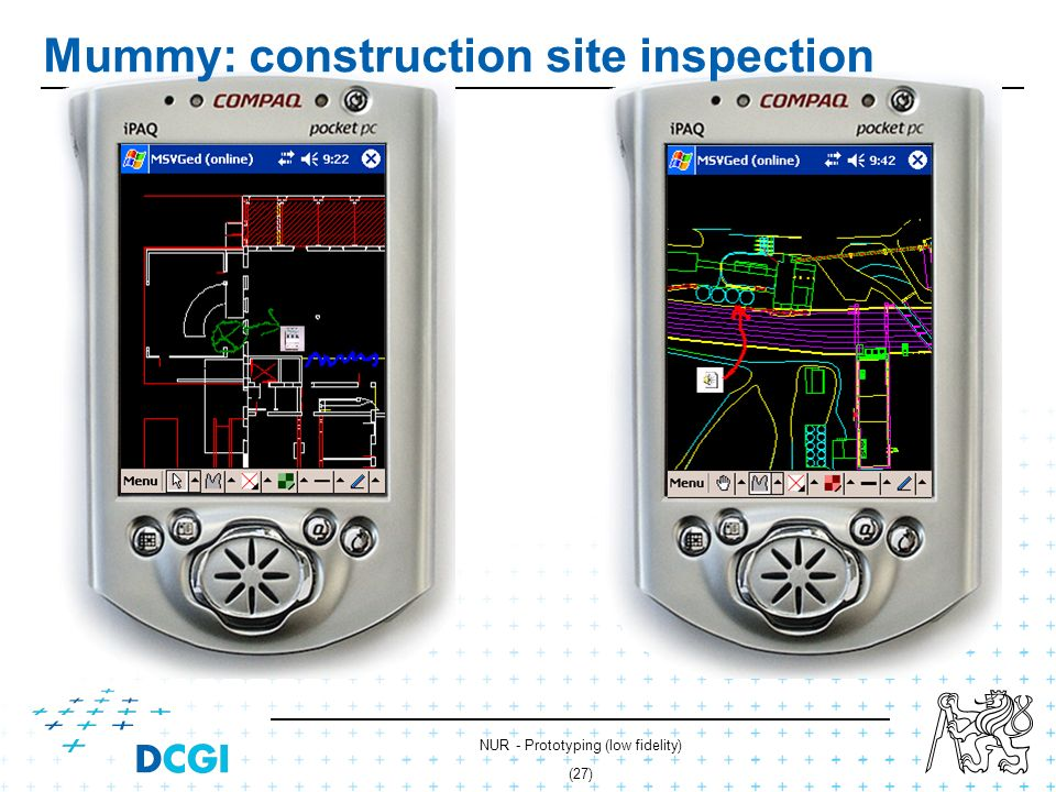 NUR - Prototyping (low fidelity) (26) Mummy: construction site inspection Inspector Construction site Mummy Server construction plans Remote expert Co