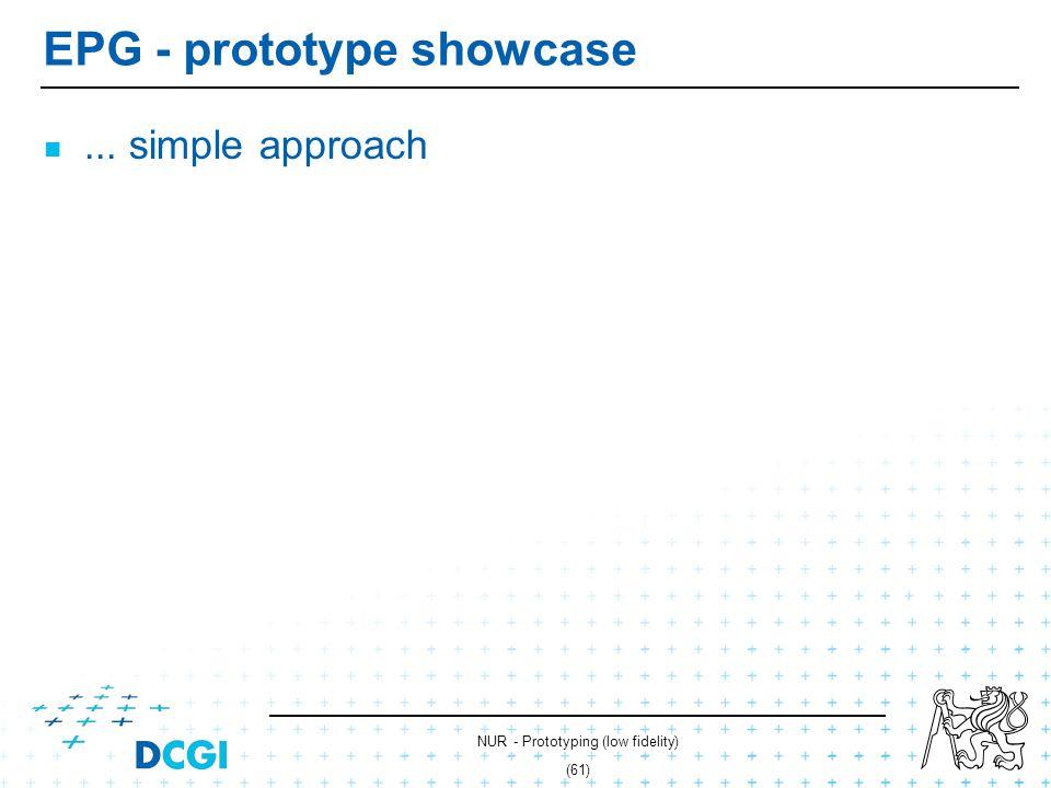 NUR - Prototyping (low fidelity) (60) Electronic program guide Visual design - Gimp Photographs Snapshost series + JavaScript