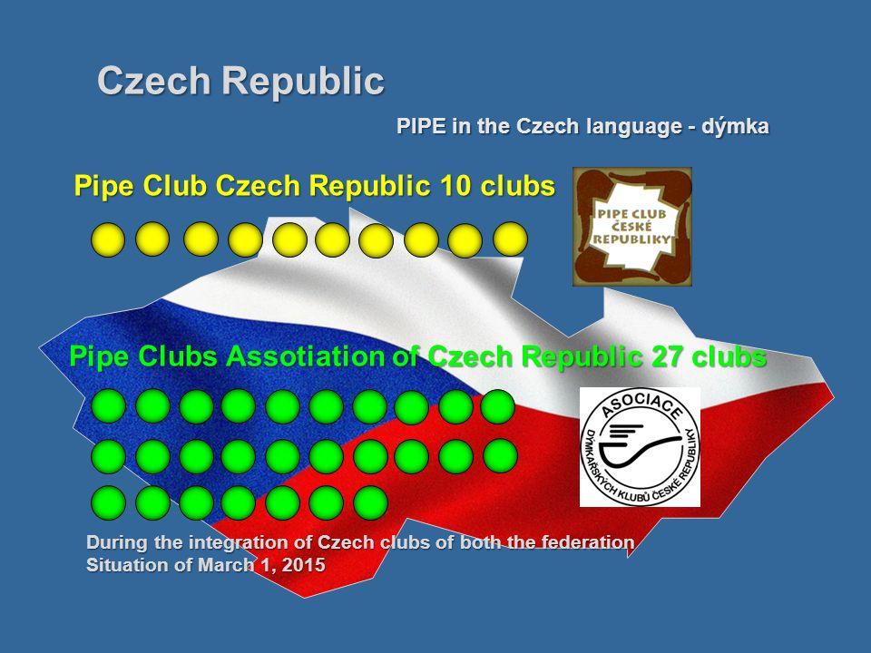 Pipe Club Czech Republic Bretislav Kotulan - president 1.PC Brno 2.Špilberk PC Brno 3.PC Budějovice 4.PC Prachatice 5.PC Janeba Mar.