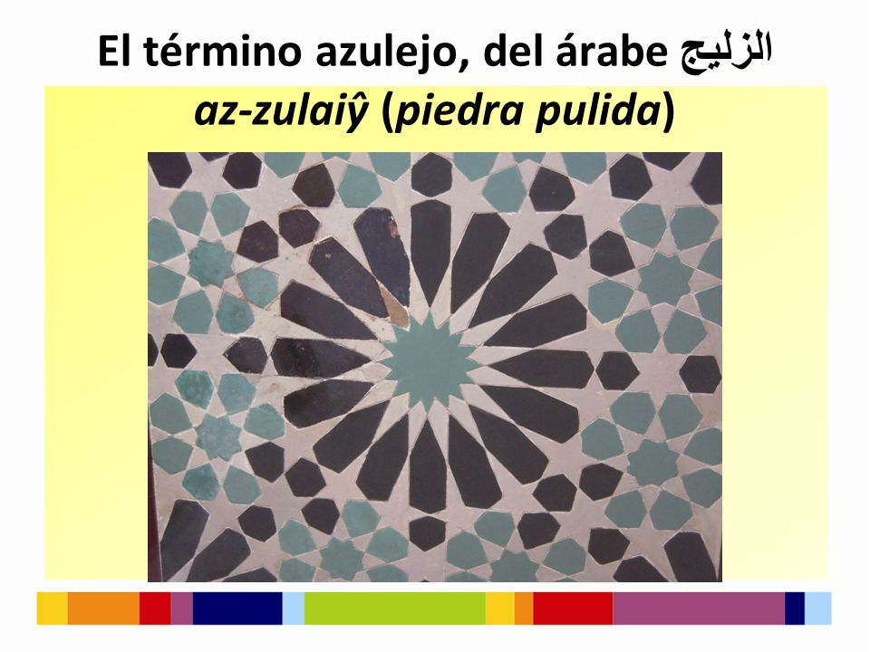 El término azulejo, del árabe الزليج az-zulaiŷ (piedra pulida)